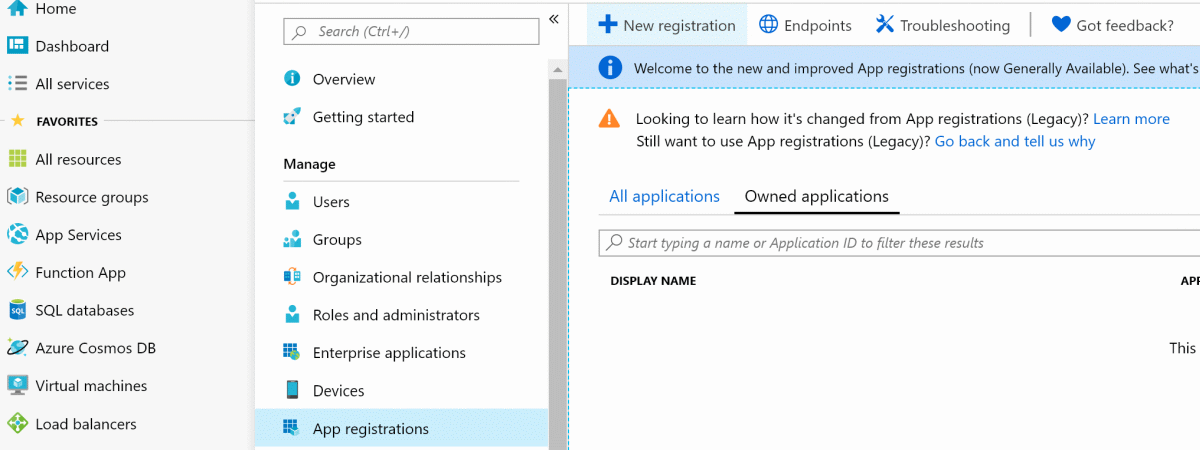 Azure Active Directory: App New Registration
