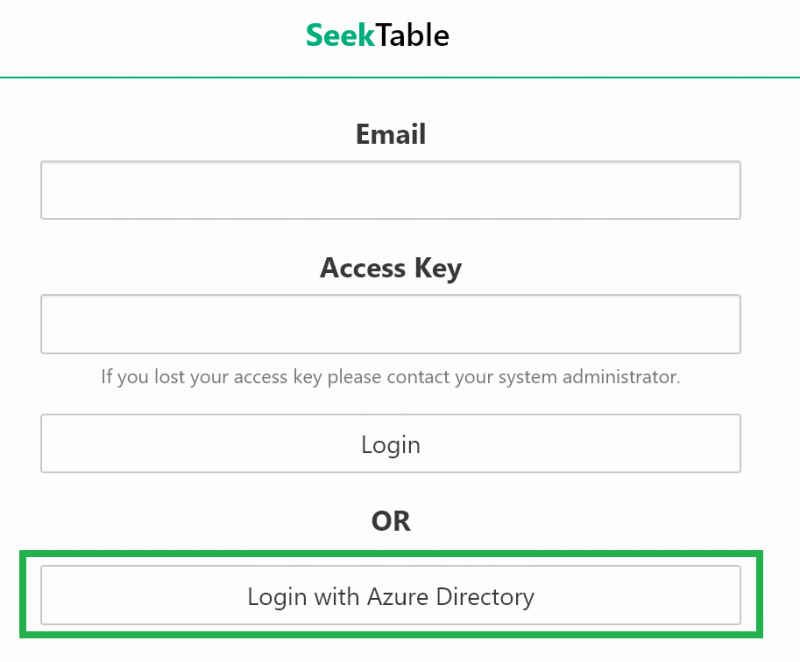 SeekTable Login page: Login with Active Directory button